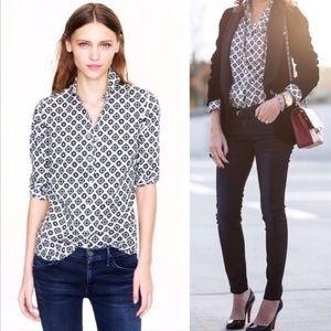 j. crew // foulard print button down perfect shirt